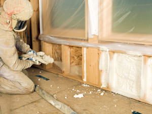 Insulation being applied to a Centreville home